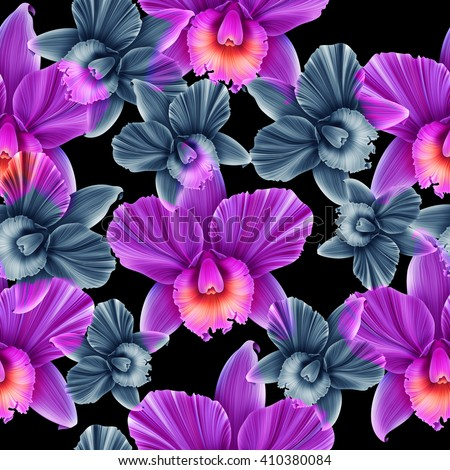 Seamless tropical flower, plant pattern background. Hawaiian, californian, florida summer style #410380084