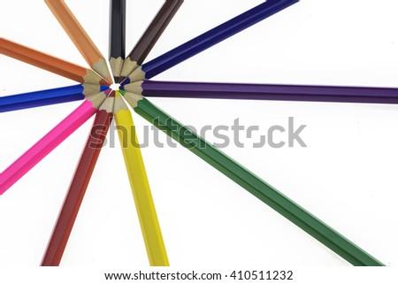 Colour pencils on white background.  #410511232