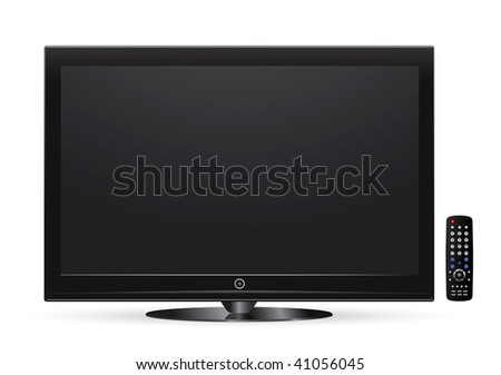 black lcd tv with remote control #41056045