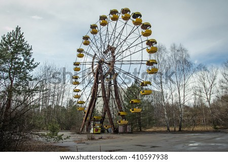 Ferris wheel in Pripyat ghost town in Chernobyl Exclusion Zone, Ukraine #410597938