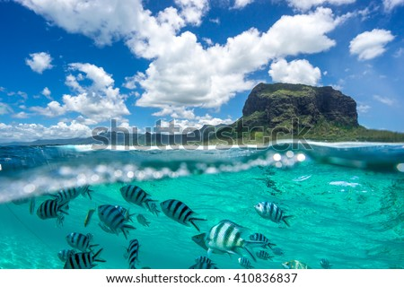 Image of a beautiful mountain and clouds from the ocean.Ã?? The lower part of the picture - the underwater world with fishes