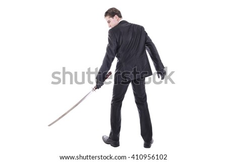 Young handsome businessman holding katana sword. Isolated on white background. #410956102