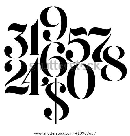 Vector custom design elegant numbers and US dollar symbol Royalty-Free Stock Photo #410987659