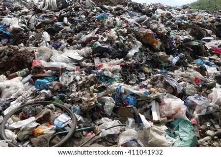 Transcarpathia, Ukraine - April 20, 2016: Garbage dump #411041932
