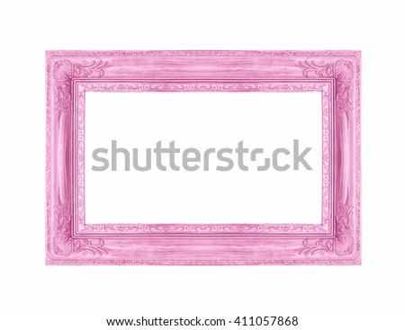 Antique pink frame on the white background