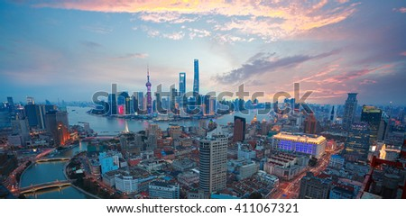 Aerial photography bird view at Shanghai bund Skyline of of dusk  #411067321