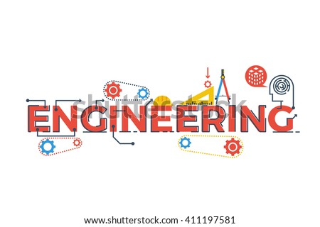 Illustration of ENGINEERING word in STEM - science, technology, engineering, mathematics education concept typography design with icon ornament elements Royalty-Free Stock Photo #411197581