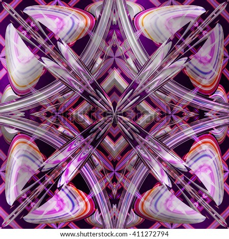 Fractal purple floral pattern, abstract simetrical texture, digital illustration art work. #411272794