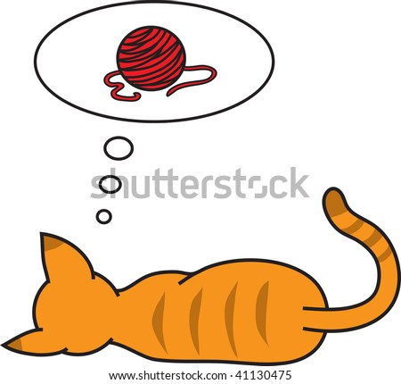 Clip art illustration of a cat dreaming of a ball of yarn.
