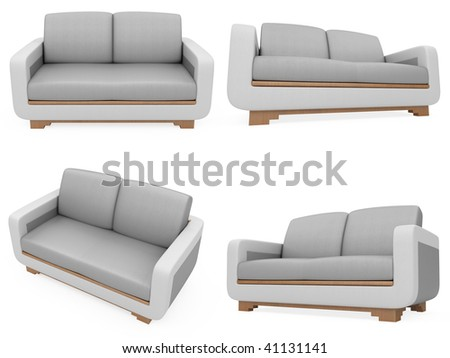 Isolated collage of sofa over white background #41131141