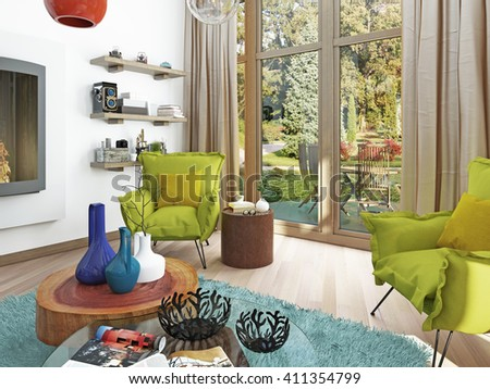 Contemporary living room with sitting area and two armchairs. Comfortable chairs in style kitsch, green color. Coffee table, floor lamp white. 3D render. #411354799