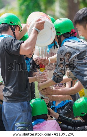 """Team building activities for teamwork - This activity is called """"FILL WATER IN THE PIPE GAME"""" #411395290"""
