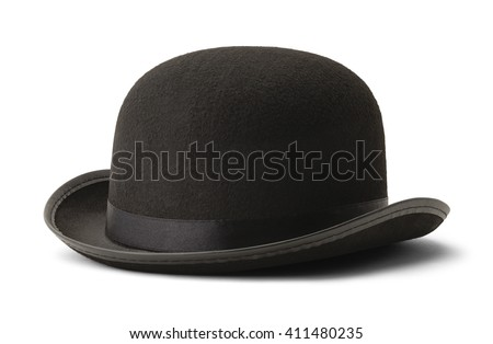Black Bowler Hat Side View Isolated on White Background. #411480235
