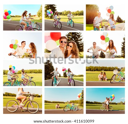 Collage of happy couple in love riding bicycle with balloons #411610099