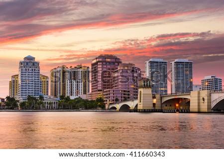 West Palm Beach, Florida, USA skyline on the Intracoastal Waterway. #411660343