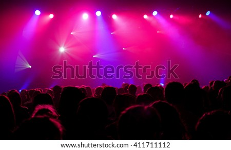 Colorful and vivid stage spotlight on stage background #411711112