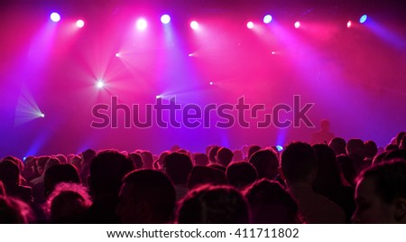 Colorful and vivid stage spotlight on stage background #411711802