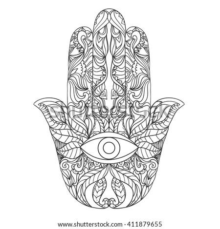 Vector hamsa hand drawn symbol. Eye on hand.  amulet, symbol. #411879655