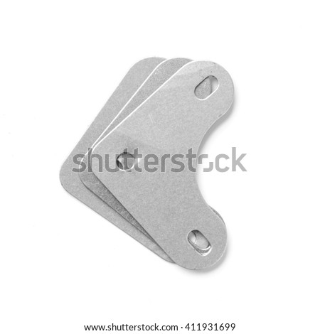 Mounting angle metal brackets isolated on white background #411931699