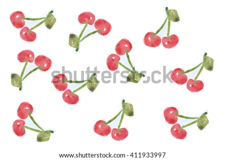 Cherries watercolor painting pattern. Illustration on white background. #411933997