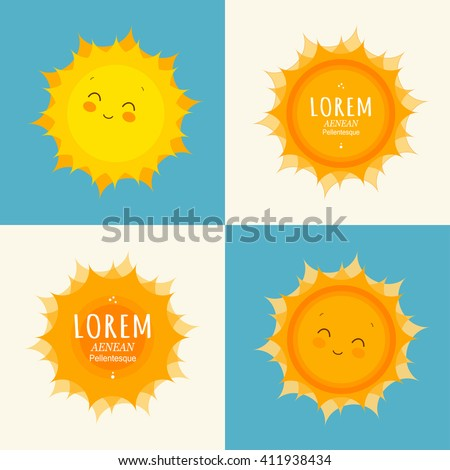 Set of funny sun icon illustration. Sunny banner design template. Flat style. Vector symbol