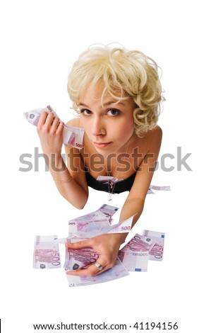 Girl with lots of money isolated on white #41194156
