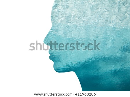 beauty, nature, travel and ecology concept - portrait of woman profile with sea water with double exposure effect Royalty-Free Stock Photo #411968206