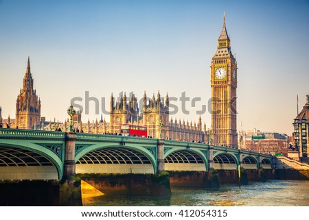 Big Ben and westminster bridge in London Royalty-Free Stock Photo #412054315