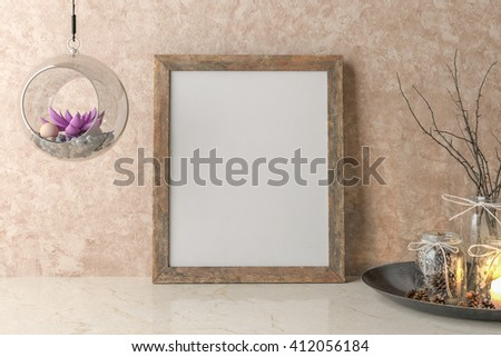 Blank Picture frame on the wall. 3D illustration #412056184