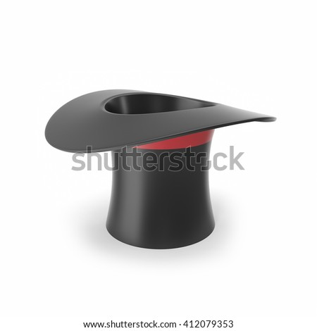Top hat with red ribbon isolated on white background. 3D illustration #412079353