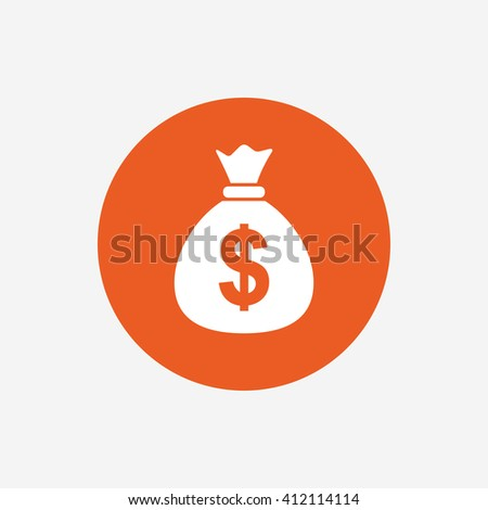 Money bag sign icon. Dollar USD currency symbol. Orange circle button with icon. Vector #412114114