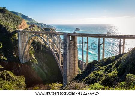 highway one bixby bridge Royalty-Free Stock Photo #412276429