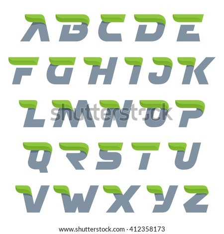 Ecology alphabet with green leaf.  #412358173