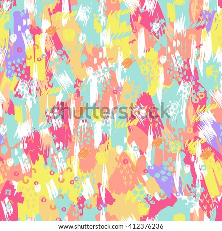 Artistic vector seamless pattern with Grunge Elements , Halftone dots , Ink Blots And Brush Strokes.  Background for poster, cover booklet, banner, surface design. #412376236