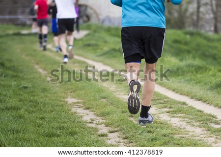 Outdoor marathon cross-country running fitness and healthy lifestyle #412378819