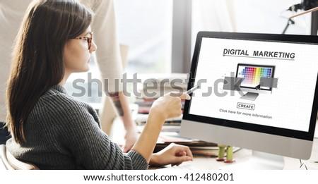 Digital Marketing Media Web Design Ideas Concept #412480201