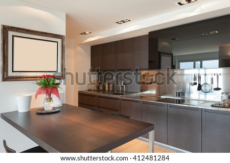 Interiors of new apartment, contemporary domestic kitchen  #412481284