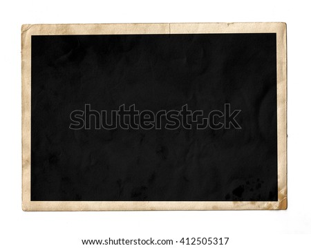 Old photo frame isolated. Chalkboard. Vintage paper