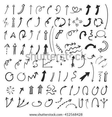 Hand drawn vector arrows set. Vector EPS.