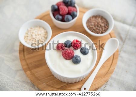 yogurt with fresh berries #412775266