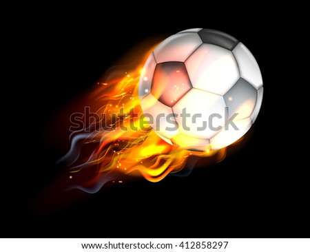 A flaming soccer football ball on fire flying through the air