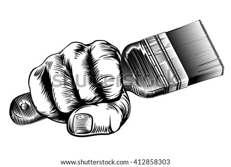 A vintage etched woodcut style hand holding a paintbrush in a fist
