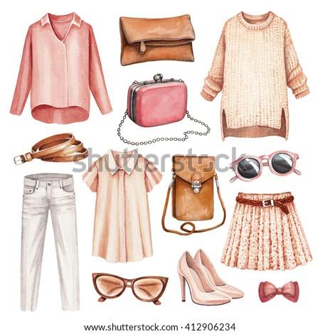 Watercolor fashion illustrations
