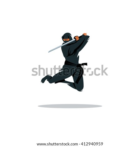 Asian Ninja Cartoon Illustration. Asia Assasin fighter. Warrior in black dress blade strikes in a jump. Branding Identity Corporate unusual Logo isolated on a white background #412940959