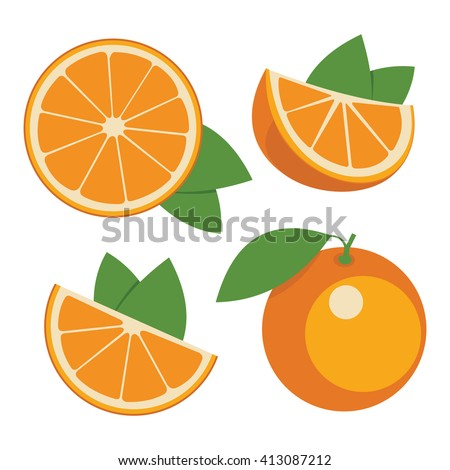 Oranges . Collection of whole and sliced orange fruits. Vector illustration. #413087212