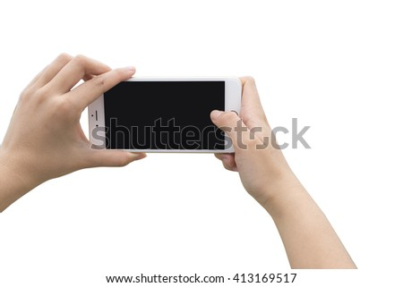 Taking photo with mobile smartphone isolated on white background with clipping path for the screen