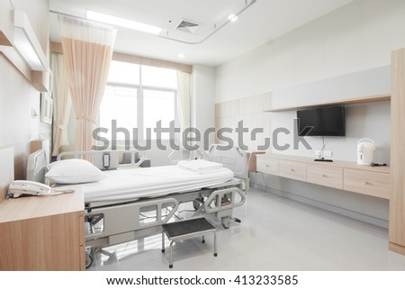Recovery Room with bed and comfortable medical equipped in a hospital #413233585