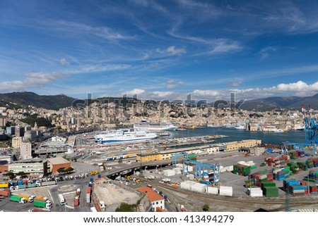 """Panoramic view of Genoa from the """"Lanterna"""" lighthouse #413494279"""
