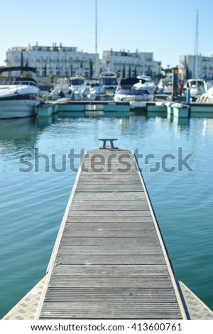 Sunny day at the marina, outdoors background #413600761