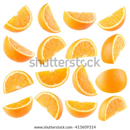 Collection of 16 orange slices isolated on white background #413609314